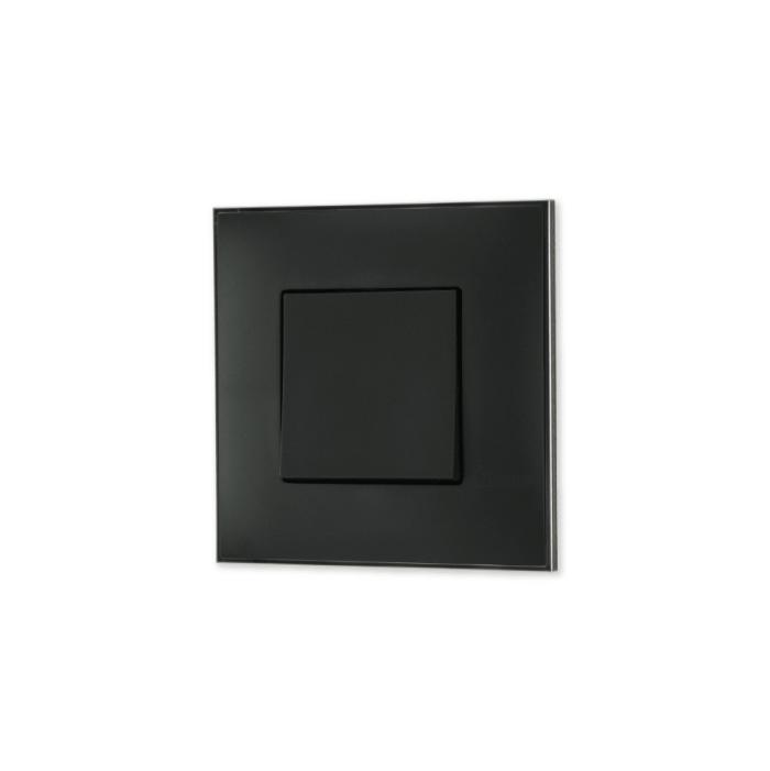Prekidac crne boje sa toniranim okvirom sa metalnim efektom nikla i sa mehanizmo u crnoj boji za uređenje stana. Detalj koji oplemenju prostor!